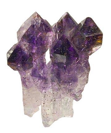 Quartz, var. amethyst, cluster of scepter crystals, Maharashtra, India, 2.4 x 2.1 x 1.6 cm (Author: Jim)
