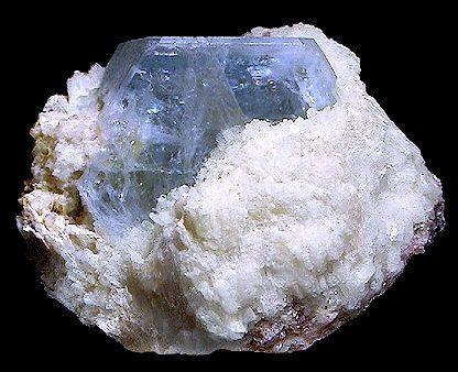 Beryl ( var. Aquamarine ) on Albite  Cryo-Genie Mine Warner Springs San Diego County, California United States of America  4.5 x 6.0 cm overall 3.5 x 3.5 cm crystal (Author: GneissWare)
