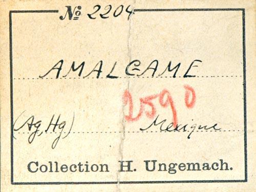 Moschellandsbergite H. Ungemach's label (Author: Roger Warin)
