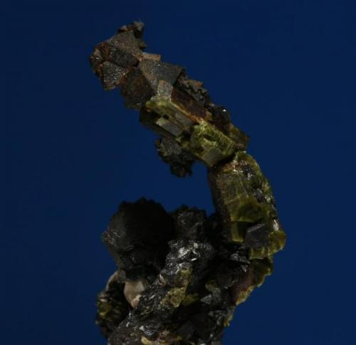 Curiosa sucesión de cristales de epidota y magnetita. Minas de Cala, Cala, Huelva, Andalucía, España.  El tamaño del grupo es 2,5x0,6x06 cm. (Autor: Inma)