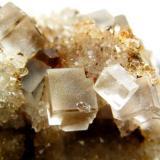 Fluorita. La Paredona. Berbes. Asturias. El cristal de Cuarzo colocado en la arista de la Fluorita mide 1 mm. (Autor: Jose Luis Otero)