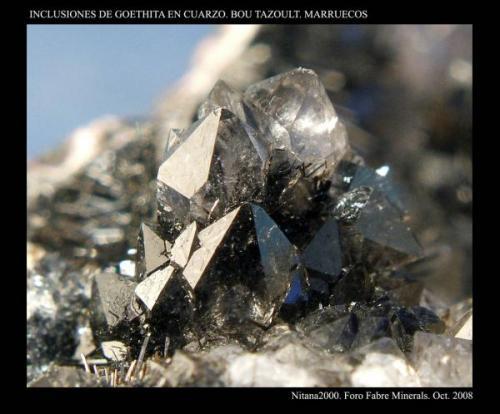 """Inclusiones de Goethita en Cuarzo. Tamaño """"piña"""" de Cuarzo 5 mm aprox. Procedencia: Bou Tazoult. Marruecos. (Autor: Juan de Laureano)"""