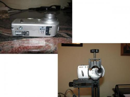 Notese que el diseño de la camara no permite la alineacion del lente con el objetivo del microscopio. (Autor: Vinoterapia)