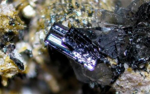 Cristales de color negro y brillo metálico, caras estriadas y bordes redondeados ¿reabsorción?. Campo visual aproximado 3,9 mm (Autor: Vinoterapia)