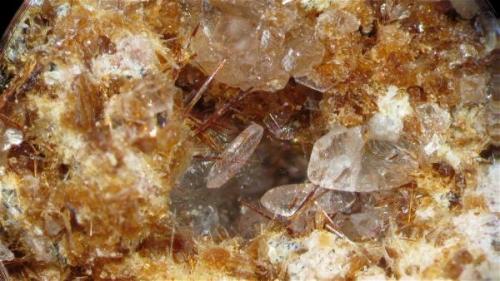 Un cristal de calcita creciendo sobre unas agujas de warwickita. Campo visual aproximado 4,8 mm. Profundidad de campo mediante CombineZP, 8 planos. (Autor: Vinoterapia)
