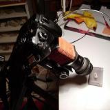 El fuelle apuntando a la muestra de pirita (Autor: soldevilla)