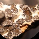 Secciones de espeleotemas de goethita con cuarzo branco e quizás goethita dispuestos radialmente - diámetro inferior a 0,3 mm. Origen: Morro das Balas, Formiga -Minas Gerais-Brasil (Autor: Anisio Claudio)