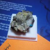La pieza en cuestión. Calcita, filipsita (?) y el mineral en cuestión. (Autor: Pepe Ruano)