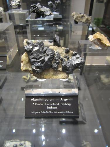 Acanthite paramorph after argentite<br />Himmelfahrt Mine, Freiberg, Freiberg District, Erzgebirgskreis, Saxony/Sachsen, Germany<br />Specimen size ~ 8 cm<br /> (Author: Tobi)