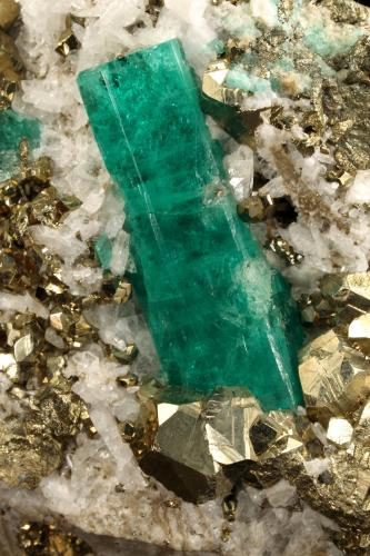 Beryl (variety emerald), Albite (variety cleavelandite), Pyrite<br />Chivor mining district, Municipio Chivor, Eastern Emerald Belt, Boyacá Department, Colombia<br />58x65x50mm, xl=30mm<br /> (Author: Fiebre Verde)