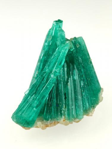 Beryl (variety emerald), Albite (variety cleavelandite)<br />Chivor mining district, Municipio Chivor, Eastern Emerald Belt, Boyacá Department, Colombia<br />20mm across<br /> (Author: Fiebre Verde)
