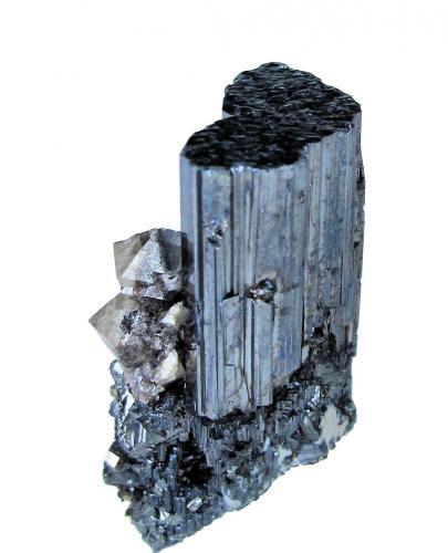 Bournonite, Scheelite<br />Yaogangxian Mine, Yizhang, Chenzhou Prefecture, Hunan Province, China<br />37mm x 21mm. Bournonite crystal: 33.0mm tall, 18.5mm wide. Major scheelite crystal: 7mm tall<br /> (Author: Carles Millan)