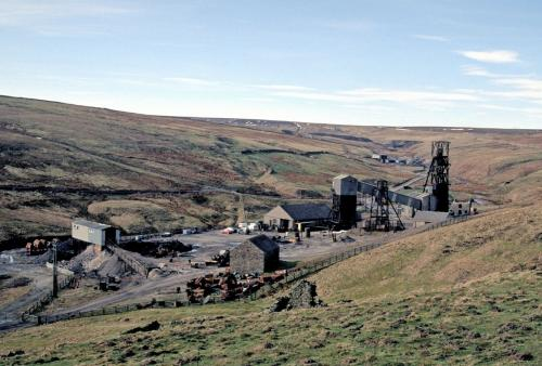 A photo of the Groverake Mine, taken March 1999, around the time of the mine's final closure. The site is currently in danger of being totally cleared. (Author: Jesse Fisher)