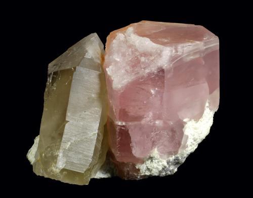 Beryl (var. Morganite) with Quartz and Albite<br />Cryo-Genie Mine, Warner Springs, Warner Springs District, San Diego County, California, USA<br />150 x 118 x 113 mm<br /> (Author: GneissWare)