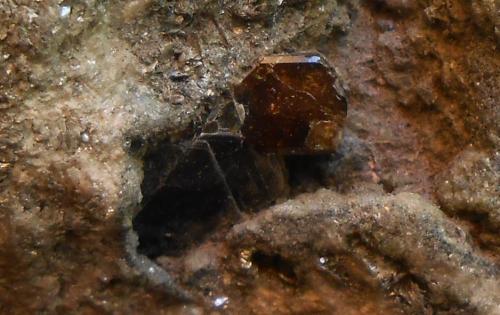 Vesubianita (Vesuvianita) y Biotita<br />Complesso del Somma-Vesuvio, Ciudad metropolitana de Nápoles, Campania, Italia<br />6 x 5,5 x 4 cm<br /> (Autor: Antonio Alcaide)