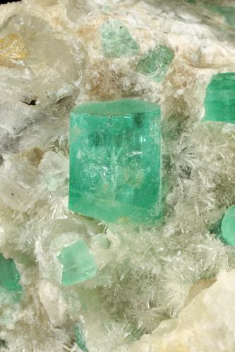 Beryl (variety emerald), Calcite, Aragonite<br />Chivor mining district, Municipio Chivor, Eastern Emerald Belt, Boyacá Department, Colombia<br />75x63x64mm, main xl=11x9mm<br /> (Author: Fiebre Verde)