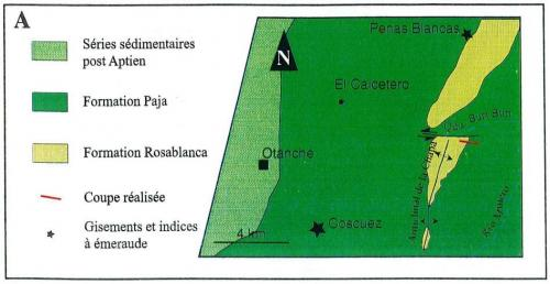 """El Calcetero"" is located halfway between the historic mining areas of Coscuez and Peñas Blancas (From Yannick  Branquet, 1999). (Author: Fiebre Verde)"