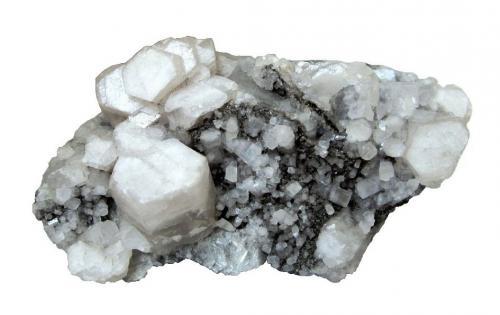 Calcite<br />St. Andreasberg mining area, Goslar District, Harz, Lower Saxony/Niedersachsen, Germany<br />Specimen size 8 cm, largest crystal 1,4 cm<br /> (Author: Tobi)