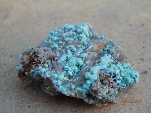 Auricalcita<br />Mines de Can Montsant, Can Montsant (Massís del Montnegre), Hortsavinyà, Tordera, Comarca Maresme, Barcelona, Catalunya, España<br />30X25mm<br /> (Autor: juan martin)