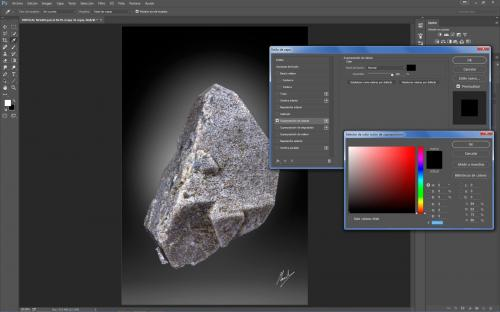 5.Duplico la capa de la muestra y a esa capa le modifico el estilo de capa con Superposición de colores al negro. (Autor: Manuel Mesa)