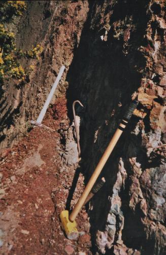 A 'crosscourse' vein<br />Penlee Quarry, Mousehole, Penzance Civil Parish, Cornwall, England / United Kingdom<br />a few metres<br /> (Author: markbeckett)