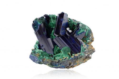 Azurite with Malachite<br />Touissit, Distrito Touissit, Provincia Jerada, Región Oriental, Marruecos<br />8.5 x 7.0 x 7.0 cm<br /> (Author: MIM Museum)