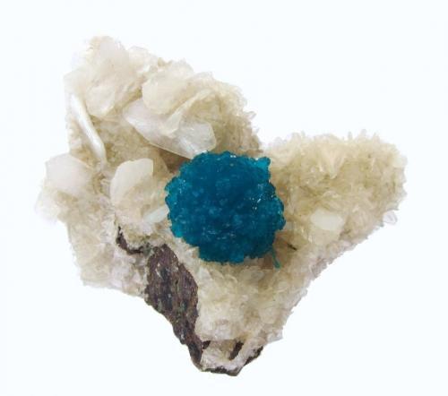 "Cavansite, Stilbite<br />Wagholi Quarry, Wagholi, Pune District (Poonah District), Maharashtra, India<br />Specimen size 5 cm, cavansite ""ball"" 13 mm<br /> (Author: Tobi)"