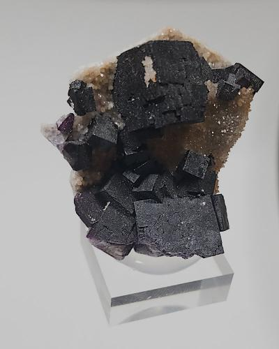 Fluorite, Quartz<br />Highway #17 roadcut, Rossport, Thunder Bay District, Ontario, Canada<br />4 x 4.5 cm<br /> (Author: Richard Arseneau)