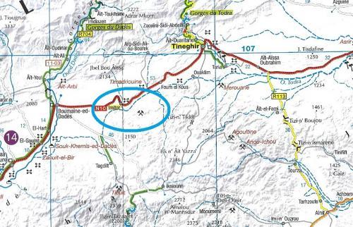 "Plano modificado de ""Maroc"", IGN, Institut National de l'Information Géographique et Forestiere, escala 1:800000. Situación de la mina de Imiter. (Autor: Carles)"