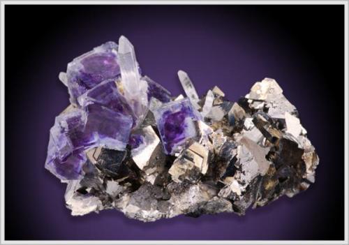 Fluorite on Arsenopyrite with Quartz from Dongshan Hunan China 5.3 x 4.8 x 4.0 cm (Author: jaysminerals)