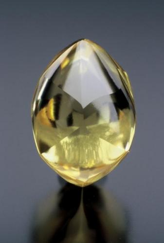 Diamond (4.21 -carats, rare canary-yellow color for locality), Crater of Diamonds State Park, Pike Co., AR, ~1.5 cm. (Author: Jim)
