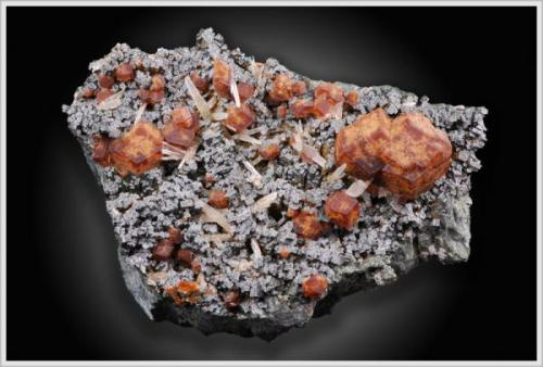Andradite with Hedenbergite and Quartz from Serifos, Greece about 8cm overall (Author: jaysminerals)