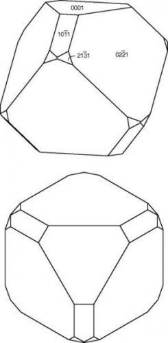 Drawings of an interpretation of the Alme calcite habit.  Top, standard crystallographic orientation.  Bottom, view corresponding to Tobias' photos. (Author: Pete Richards)