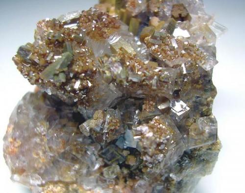 4011-Vanadinite and calcite, Mina Apex, San Carlos, Chihuahua, Mexico, detalle. (Autor: Edelmin)