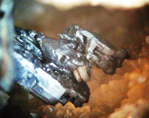 Pirargirita y plata nativa en la base de dicho cristal Mina La Suerte Hiendelaencina Guadalajara, Castilla-La Mancha. cristal pirargirita 8 mm plata 3 mm (Autor: Nieves)