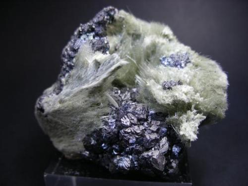 Actinolita con magnetita. Mina La Herrería. Burguillos del Cerro. Pieza: 5 x 5 cm. (Autor: Juan Cabezas)