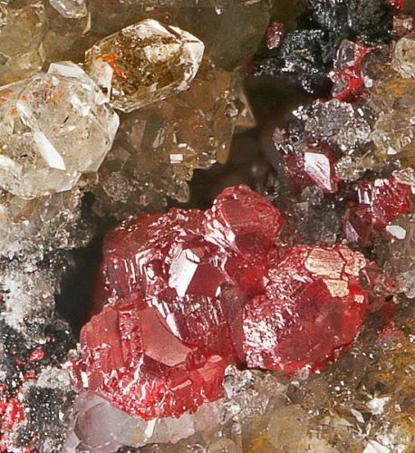 Cinabrio<br />Grupo Peña, El Terronal-La Peña, Mieres, Comarca Caudal, Asturias, Principado de Asturias, España<br />Cristales 2 mm.<br /> (Autor: Echevarria)