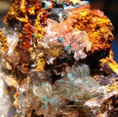 Hemimorfita, Rosasita<br />Grupo Minero Antonina (Toral de los Vados), Requejo, Sobrado, Comarca El Bierzo, León, Castilla y León, España<br />Cristales de 3-4 mm.<br /> (Autor: Calita)