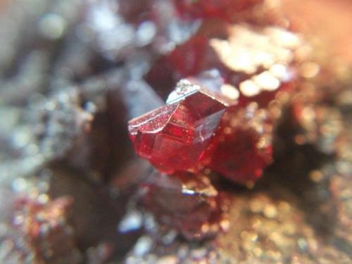 Cinabrio<br />Distrito Minero de Almadén, Almadén, Comarca Valle de Alcudia, Ciudad Real, Castilla-La Mancha, España<br />Cristal 8 mm.<br /> (Autor: Nieves)