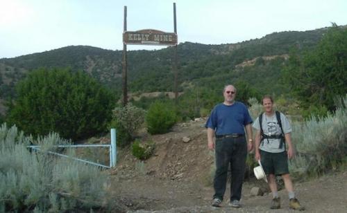 Al Cherepon and Gordan May at the entrance to the Kelly Mine. (Author: Paul Bordovsky)
