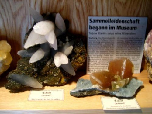 Calcites from Irai and German Juchem Quarry next to an article about my museum exhibition. (Author: Tobi)