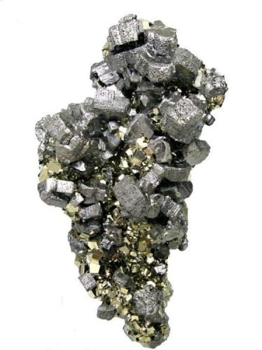 """Bournonite, pyrite Mina Mercedes, Huallanca, Dos de Mayo, Huánuco, Peru 78 mm × 44 mm × 20 mm  Also published at """"Fabre Minerals Reference Specimens - The Silvane Collection"""" http://www.fabreminerals.com/specimens/RSSLV-silvane-notable-specimens.php#AL66M6 (Author: Carles Millan)"""