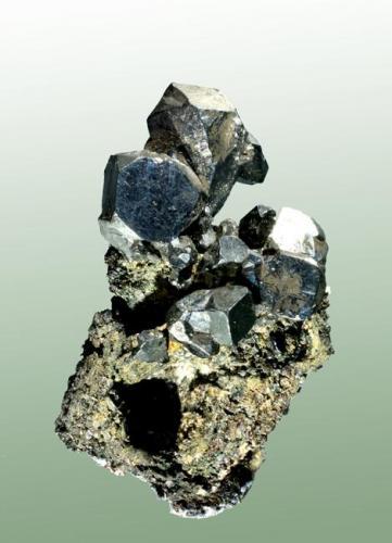 Acantita Guanajuato (municipio), Guanajuato (estat), México. San Carlos (m). Cristales cubo-octaédricos (pseudomórficos de argentita) en matriz. 4,3 x 2,6 x 1,9 cm. (Autor: Carles Curto)