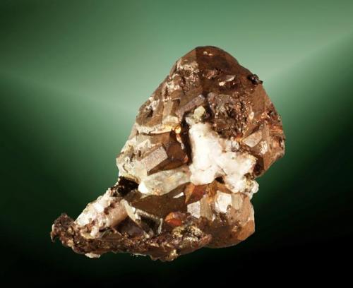 Cobre Ontonagon Co., Keweenaw (pen.), Michigan, EUA. Cristal de caras tetraédricas curvas sobre quarz'. 4,7 x 5,8 x 4,3 cm (Autor: Carles Curto)