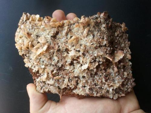 Ankerita con pequeñas piritas oxidadas sobre siderita. Mina Josefa, Castro Urdiales, Cantabria, España. Dimensiones 12 cm x 10 cm. (Autor: PabloR)