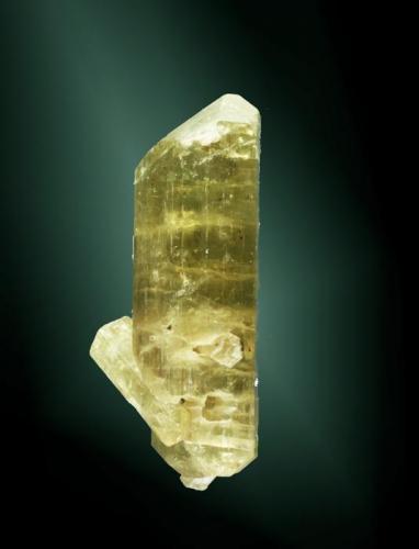 Fluorapatito Imilchil, Errachidia (prov.), Meknes-Tafilalt (wilaya), Marruecos. Tizi-n-Inouzane. 4,0x1,6x1,7 cm. / 4,0x1,6x1,5 cm. (cristal pral.) Dos cristales prismáticos biterminados, uno de ellos claramente dominante, formados por el prisma dihexagonal y la bipirámide hexagonal, de color amarillo limón. Ejemplar de 2006 (Autor: Carles Curto)