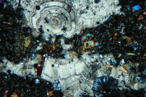 Calcita y Zeolita? Cantera La Aljorra, La Aljorra (Cartagena), Murcia, España Vista de otra vacuola con cristalizaciones secundarias. Hacia la parte superior se observa un crecimiento globular concéntrico de calcita. hacia la parte inferior derecha se observa otro crecimiento globular (de color gris), pero en este caso con estructura radial, podría tratarse de alguna zeolita no identificada. Polarizadores cruzados. (Autor: Vinoterapia)