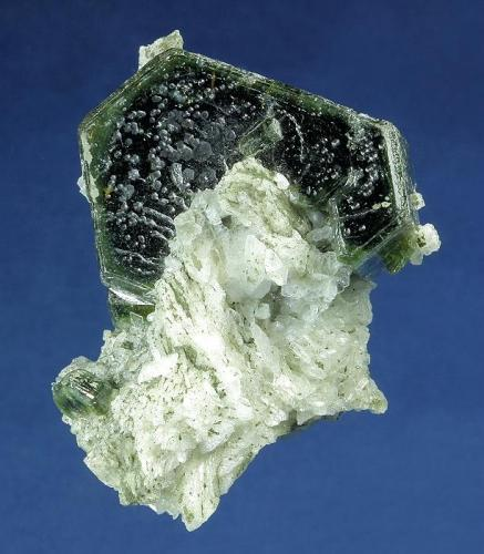 Fluorapatite on Albite  Sapo Mine, Doce valley, Conselheiro Pena, Minas Gerais, Brazil  51.0 x 42.0 x 42.0 mm  A sharp, glassy, lustrous dark-forest-green Apatite crystal, measuring 39 x 28 x 17 mm, with slightly beveled edges is perched on a bed of white glassy Albite cystals. The Albite is sprinkled with green microcystals of Apatite and accented by several well formed green Apatite crystals. The face of the large Apatite has a series of solution pits adding to the interest. This is an outstanding specimen with no damage. (Author: GneissWare)