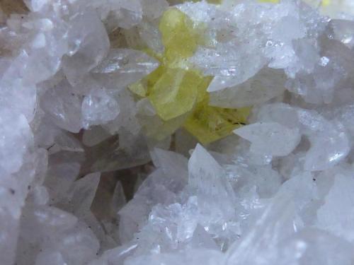Azufre Yazaouskoe, Karpaty, Ucrania 5 x 5 cm.  Pequeños cristales de la pieza (Autor: javier ruiz martin)