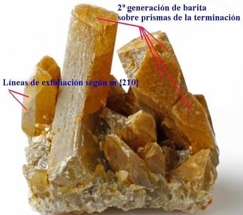Barita Mina Barega, Gonnesa-Carbonia, Iglesias, Cerdeña, Italia 8 x 7,5 x 7 cm. Indicación de la exfoliación y la segunda cristalización (Autor: Antonio Alcaide)